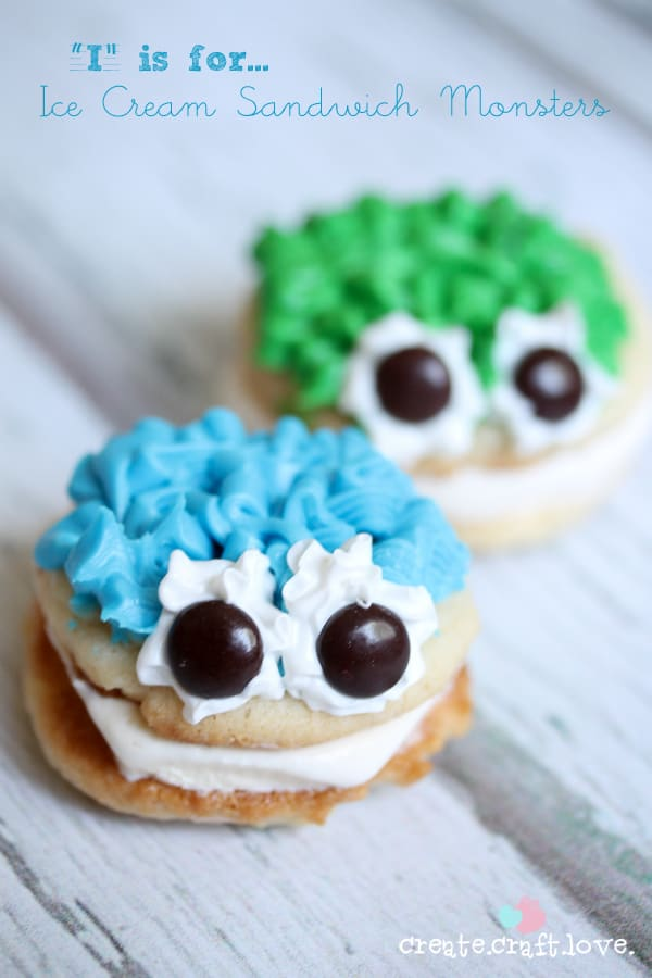 """I"" is for Ice Cream Sandwich Monsters via createcraftlove.com for Somewhat Simple"