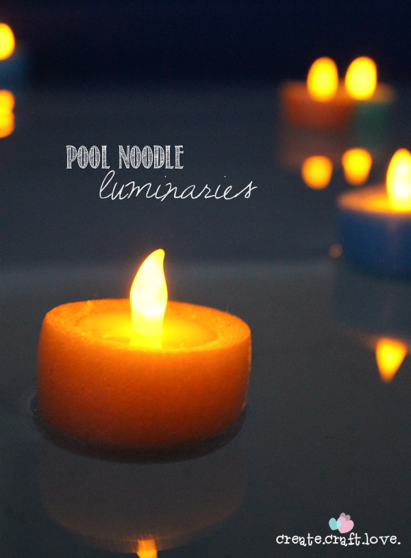 Pool Noodle Luminaries for summer nights!