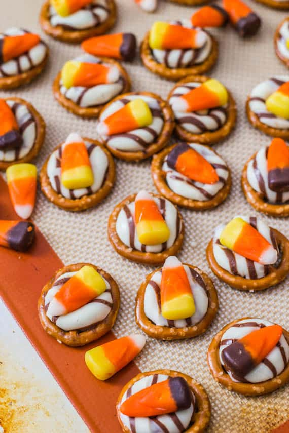 candy corn pretzel hugs from sallys baking addiction - Easy Halloween Candy Recipes