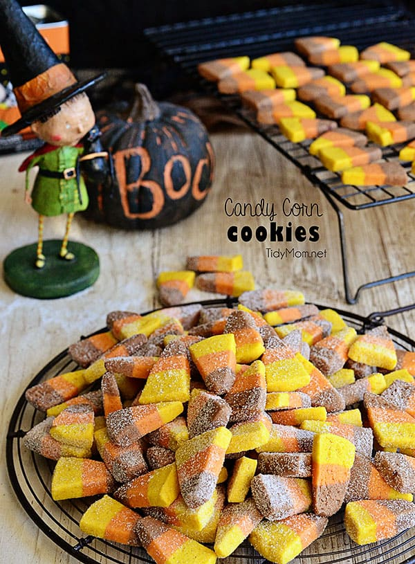Easy Candy Corn Sugar Cookies recipe and tutorial at TidyMom.net
