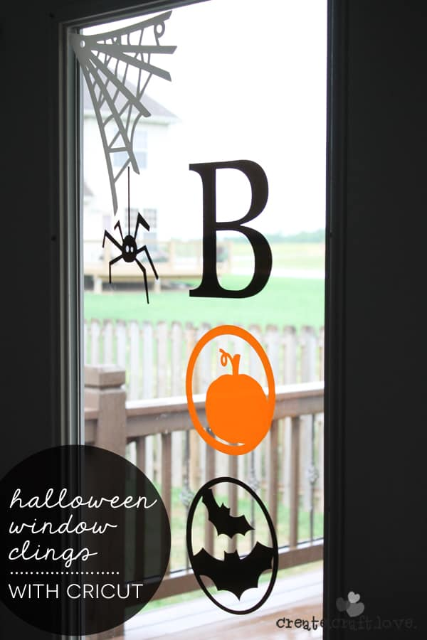 check out the new window cling material from cricut i made these halloween window clings