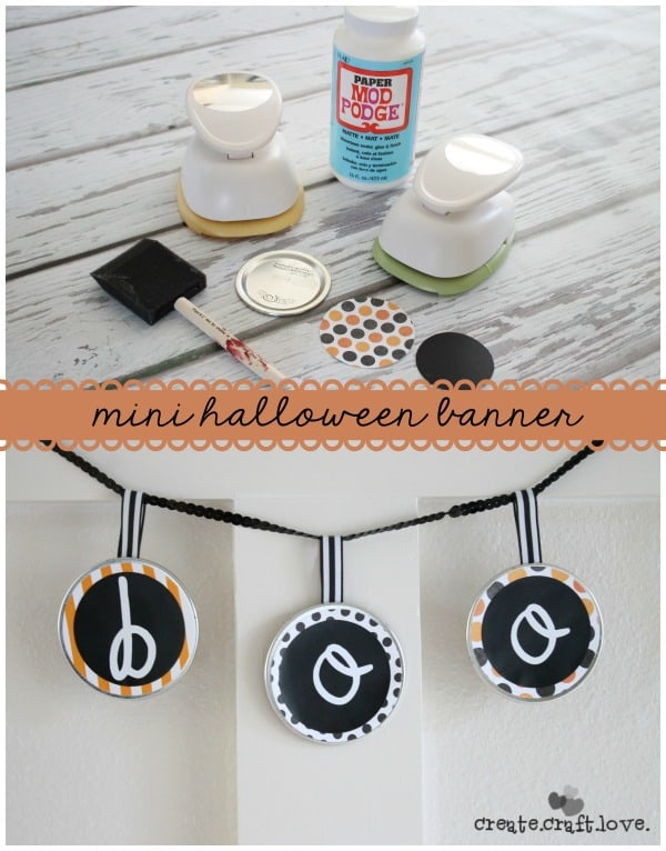 Create this Mini Halloween Banner in less than 5 minutes via createcraftlove.com