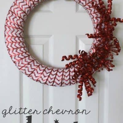 Chevron Glitter Christmas Wreath