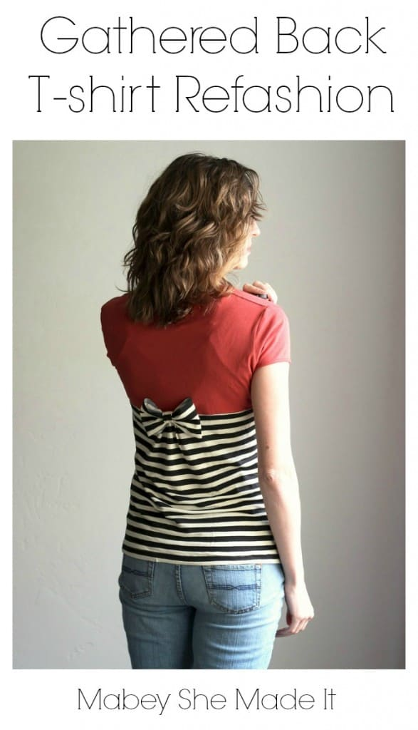 Try this Gathered Back T-shirt Refashion - cute update to an old shirt!