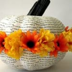 Ring-of-flowers-glued-onto-the-book-page-pumpkin-AnExtraordinaryDay.net_