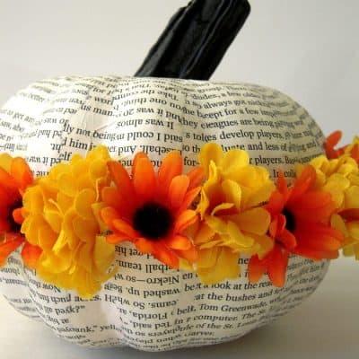 Flowery Book Page Pumpkin