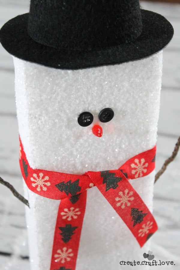 This Foam Block Snowman is an easy and affordable DIY gift idea for the holidays! via createcraftlove.com #spon #makeitfuncrafts