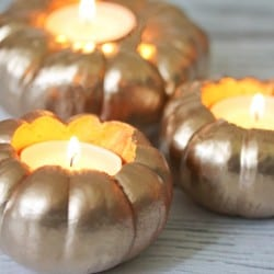 Create these Gold Pumpkin Votives for your Thanksgiving dinner table! via createcraftlove.com for @the36thavenue
