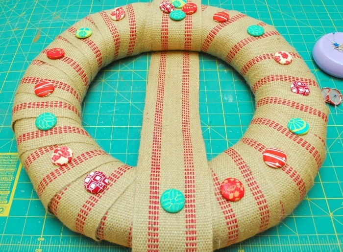 Covered Button Wreath 6