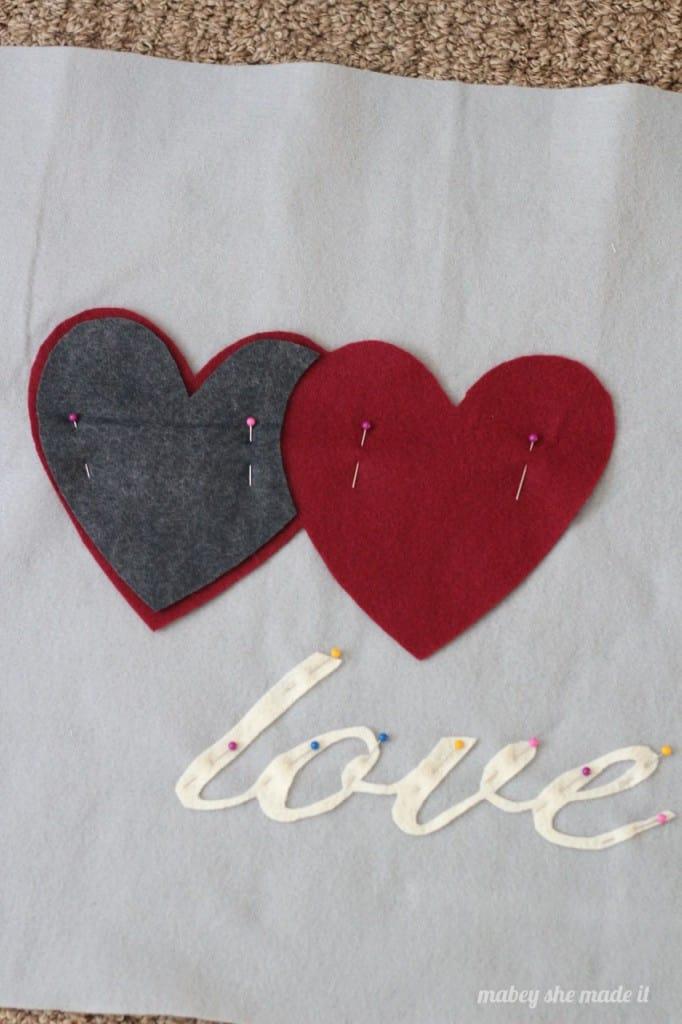 pin felt cut outs for felt pillow sham