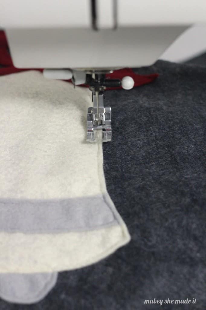 sewing applique for felt pillow sham