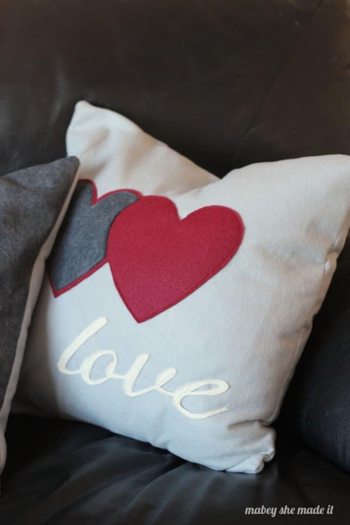 love felt pillow sham