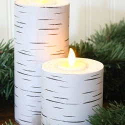 Can you believe these Faux Wood Pillar Candles are made from pool noodles? Come see how to make your own at createcraftlove.com!