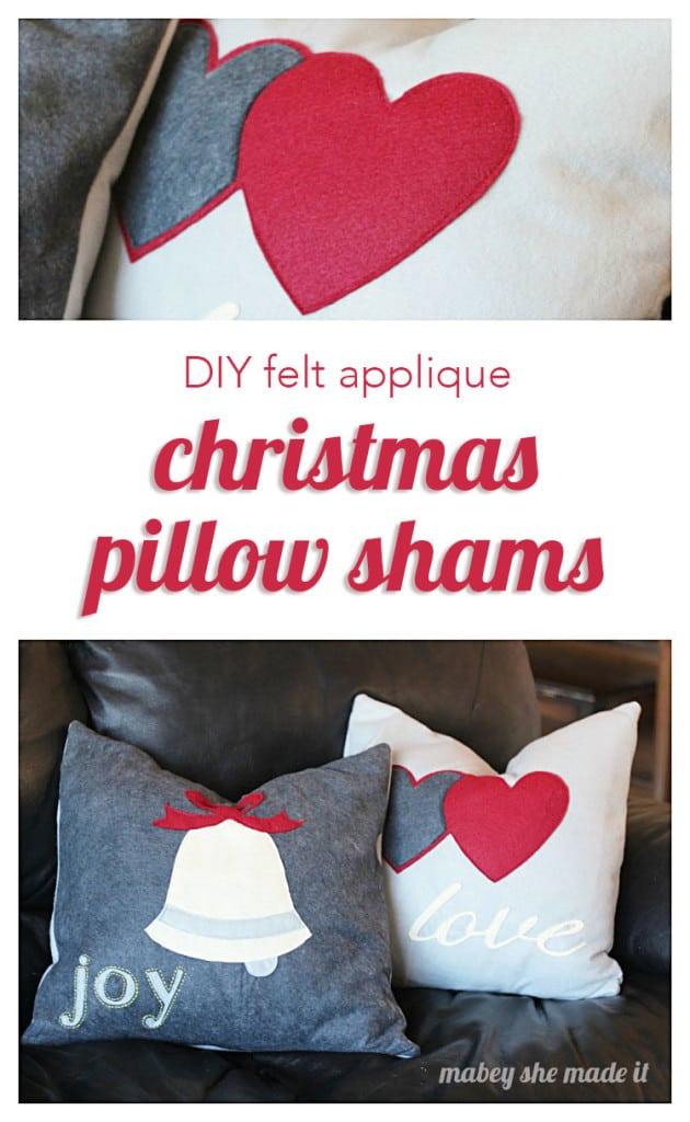 Easy Felt Pillow Shams to make for Christmas!