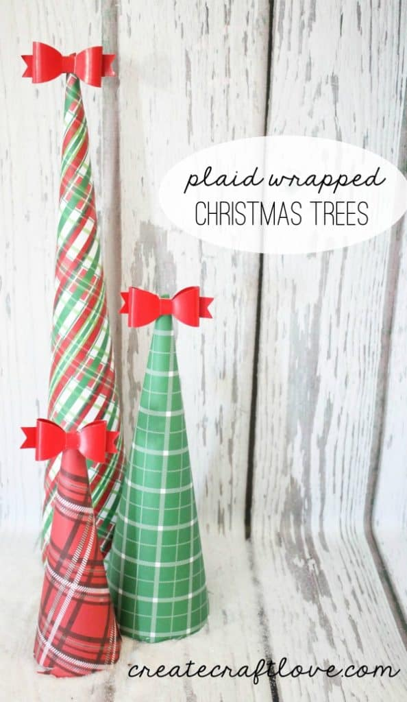 These Plaid Wrapped Christmas Trees are a quick way to spruce up your Christmas decor!  via createcraftlove.com for The 36th Avenue