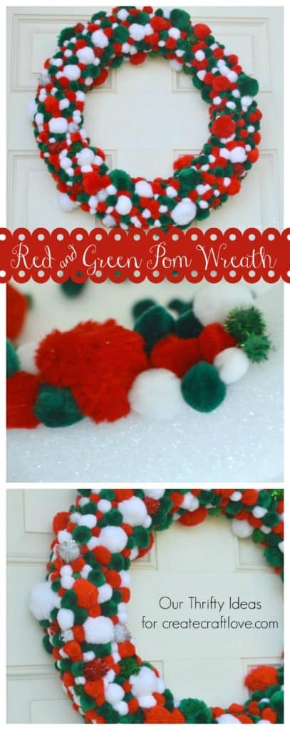 More fun at the Winter Wreath Workshop! Check out thsi Red & Green Pom Wreath at createcraftlove.com
