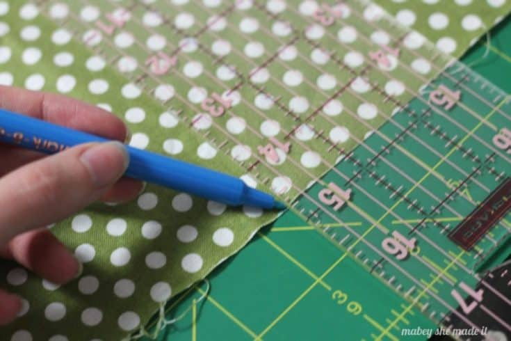 Find center of fat quarter to make pintucked canvas