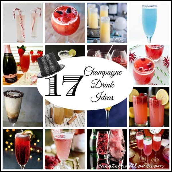 Champagne Drink Ideas for your New Year's celebration via createcraftlove.com!