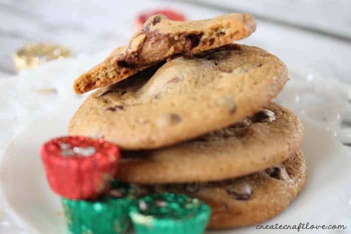 Chocolate Chip PB Stuffed Cookies that only require TWO ingredients! via createcraftlove.com