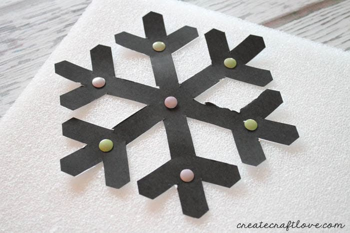 pin snowflake to foam