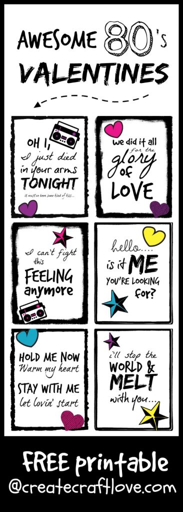 Awesome 80s Valentines - free printable available at createcraftlove.com!