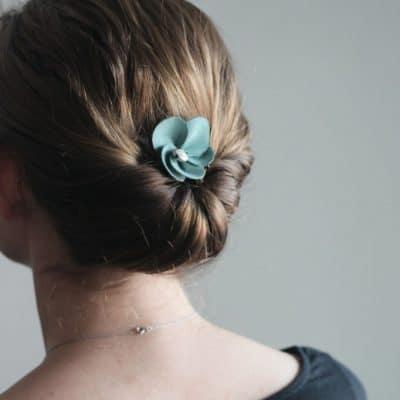 Suede Flower Comb
