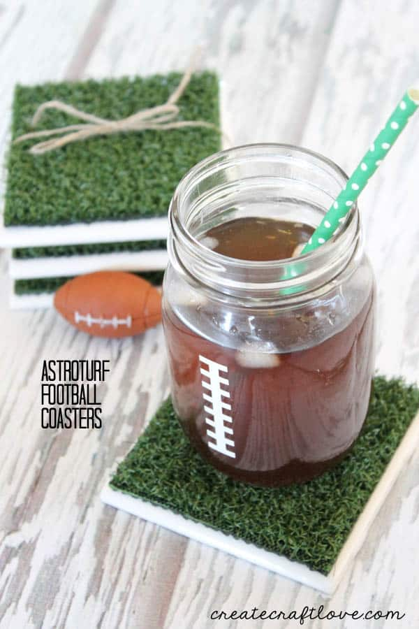 These Astroturf Football Coasters are a fun addition to any Super Bowl party! via createcraftlove.com