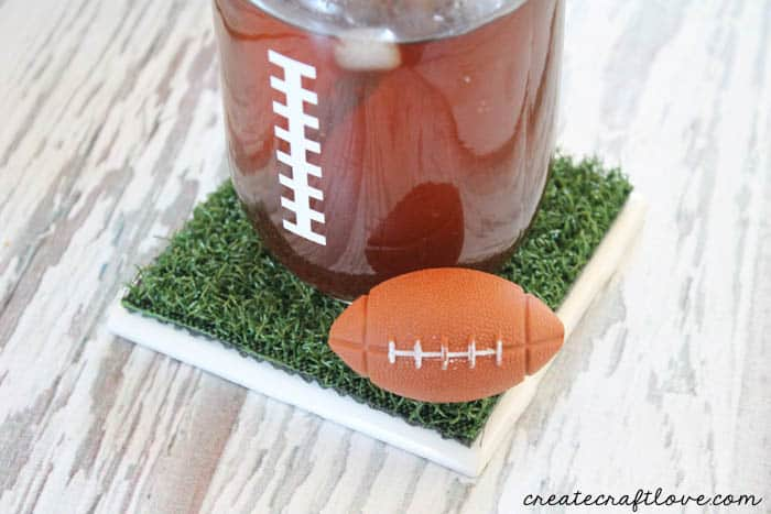 These Astroturf Coasters are a fun addition to any Super Bowl party! via createcraftlove.com