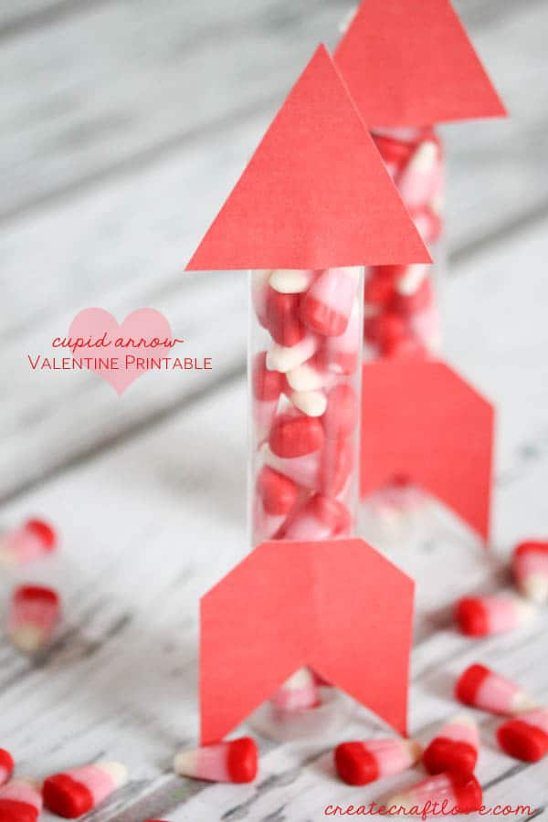 Cupid Arrow Valentine Printable available at createcraftlove.com!