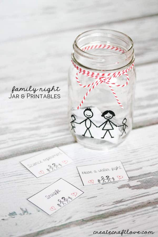 Make a Family Night Activity Jar! Printable includes 52 activity cards (one for each week of the year) plus blank ones to create your own! via createcraftlove.com!