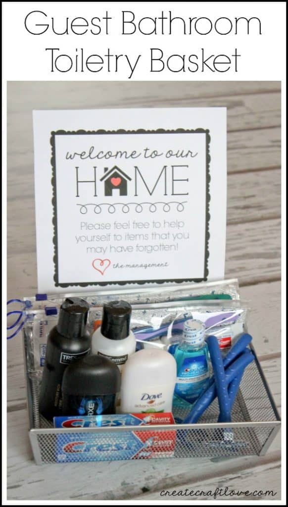 Guest Bathroom Toiletry Basket W Free Printable Idea For Making Guests Feel At Home