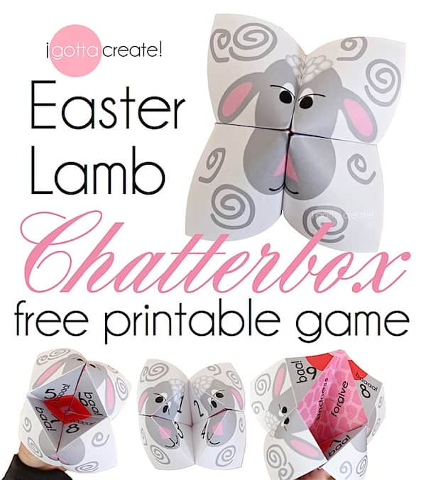 Easter Lamb Cootie Catcher at I Gotta Create