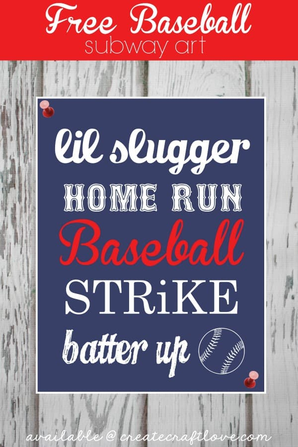 Baseball Subway Art - FREE Printable available at createcraftlove.com