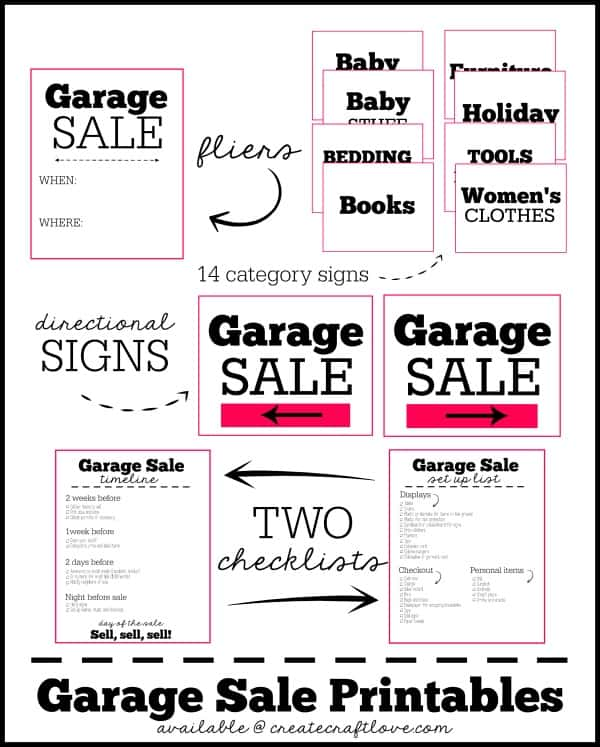 FREE Garage Sale Printables with TWO bonus checklists! via createcraftlove.com