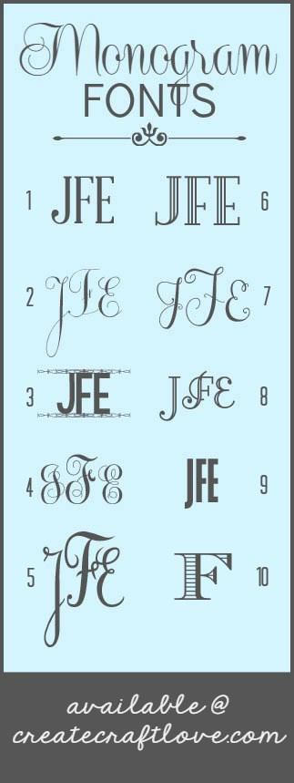 The BEST Monogram Fonts via createcraftlove.com