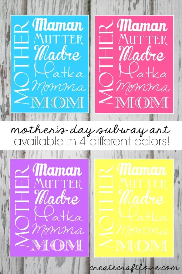Mother's Day Subway Art Printables available at createcraftlove.com!