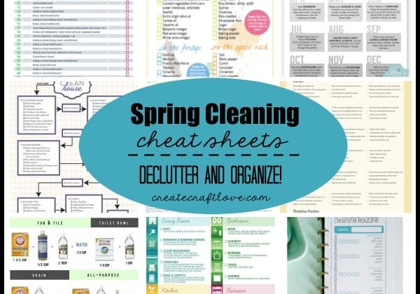 Spring Cleaning Cheat Sheets - everything you need to declutter and organize this spring! via createcraftlove.com