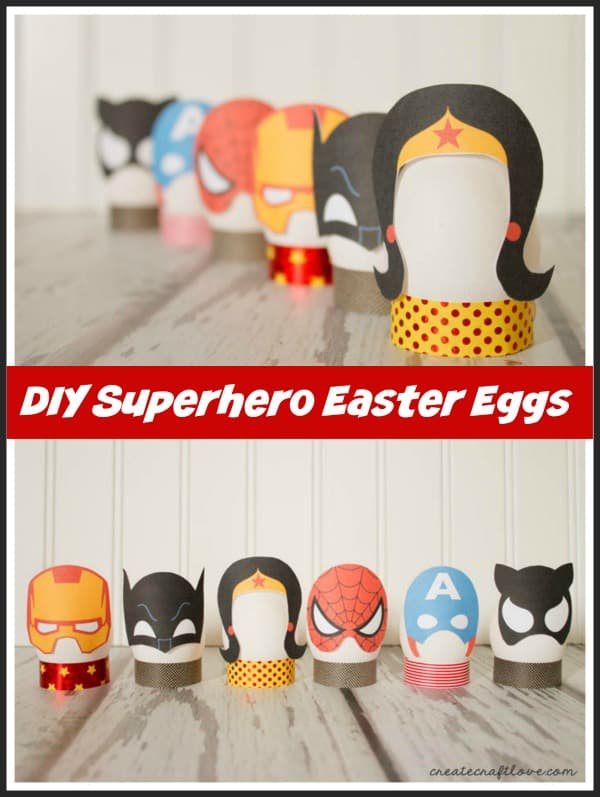 DIY Superhero Easter Eggs complete with free printable available at createcraftlove.com!
