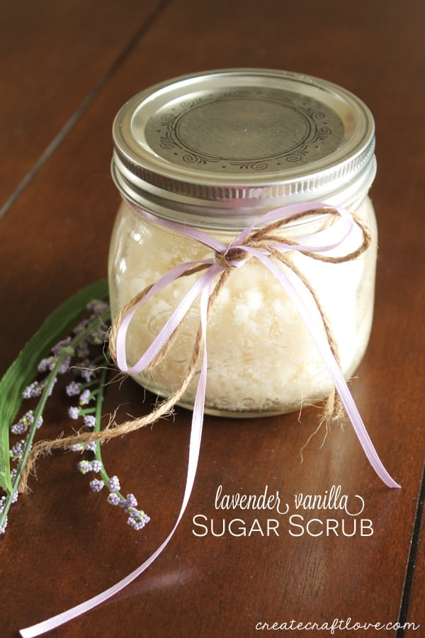 This Lavender Vanilla Sugar Scrub takes only a few ingredients and about 5 minutes to make! via createcraftlove.com