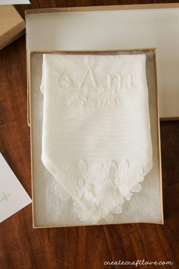 monogrammed handkerchiefs upclose