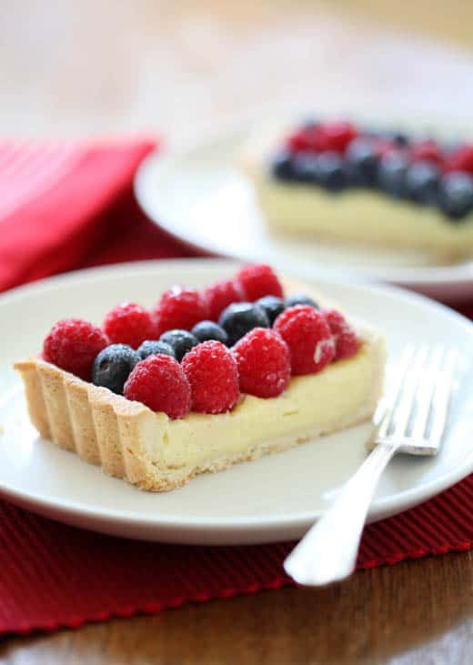 Raspberry, White Chocolate and Blueberry Tart