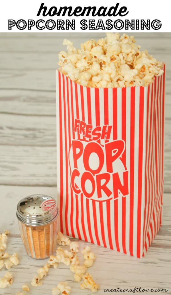 This Homemade Popcorn Seasoning will take plain old popcorn and turn it gourmet! via createcraftlove.com