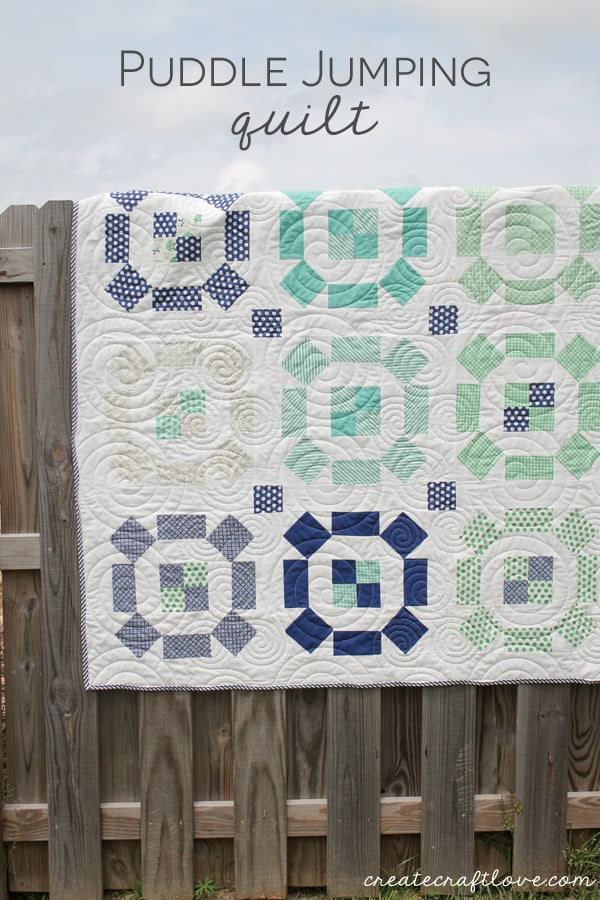 This Puddle Jumping Quilt is my first block quilt made using Thimbleblossoms design! via createcraftlove.com