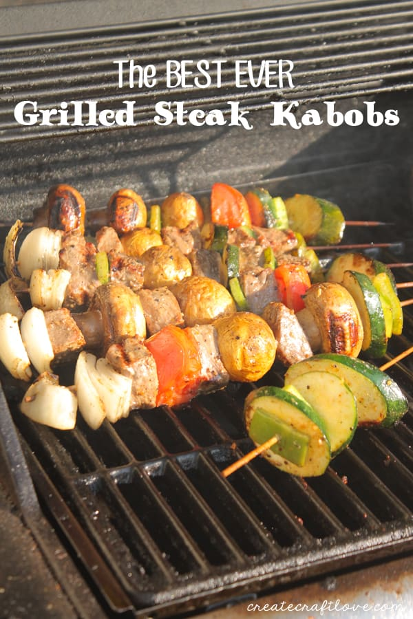 These Grilled Steak Kabobs are delicious and one of our favorite grill recipes! via createcraftlove.com