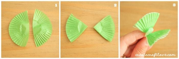 cupcake liner lei leaf step by step