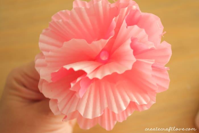 cupcake liner lei pink flower