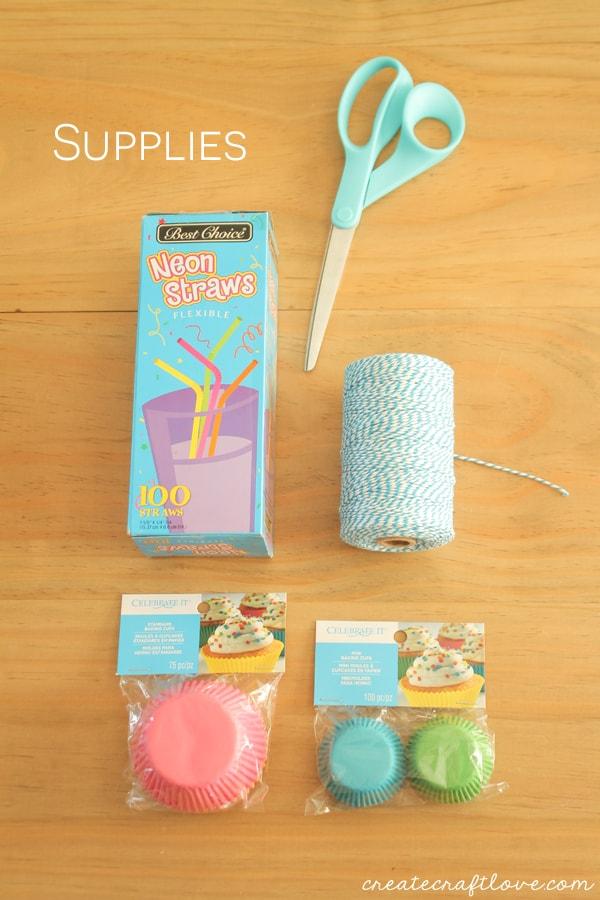 cupcake liner lei supplies