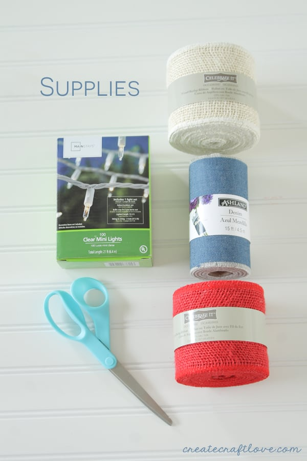 denim burlap garland supplies