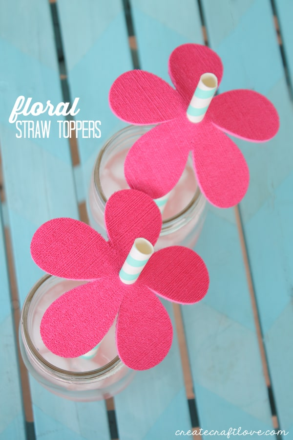 You can easily create and cut these Floral Straw Toppers with your Cricut! via createcraftlove.com