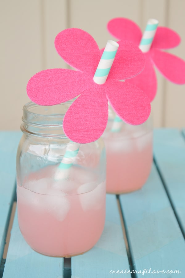 floral straw toppers mason jars